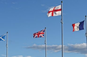 UK flags and French flag