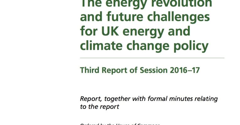 Cover House of Commons report on energy revolution