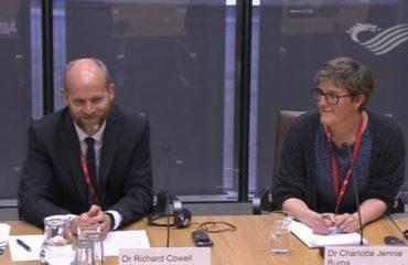 Richard Cowell and Charlotte Burns giving evidence
