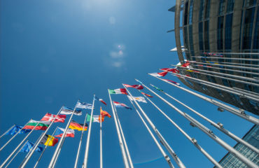 European Flags in front of the European Parliament building in Strasbourg