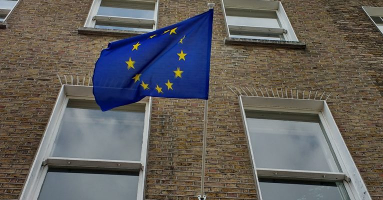 European flag flying in front of an embassy in Dublin (c) Viviane Gravey